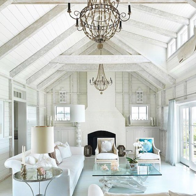 Surfside Chic Nantucket beach house -Beams and Chandeilers
